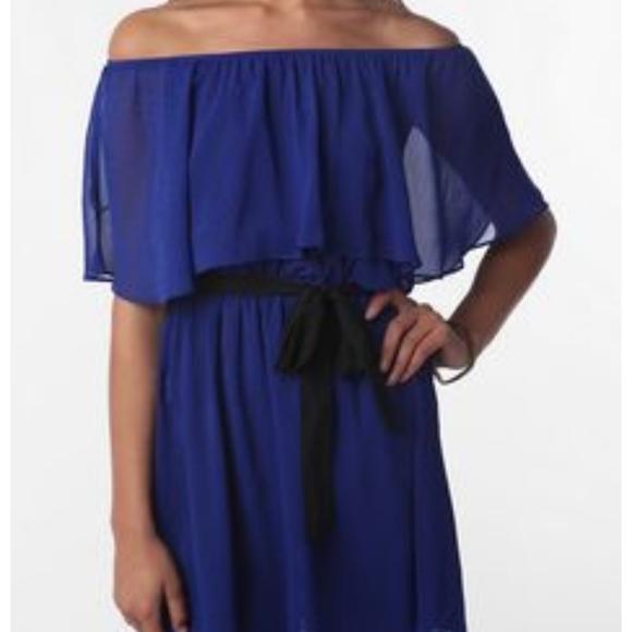 Sparkle & Fade off shoulder chiffon dress